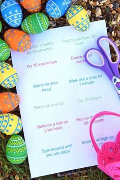 Fun Energy Burning Easter Egg Hunt idea for kids with a free printable list of excercises - great alternative to chocolate. Easter Egg Hunt Alternatives For Churches Easter Games For Kids, Easter Eggs Kids, Easter Hunt, Easter Crafts For Kids, Easter Decor, Easter Centerpiece, Bunny Crafts, Easter Table, Easter Subday
