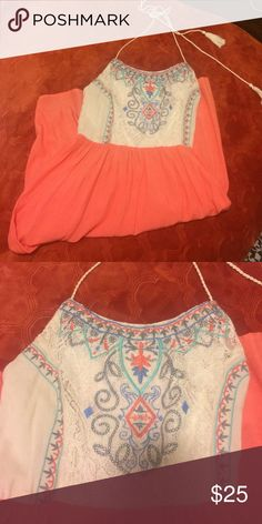 Chelsea and Violet halter dress Sweet Chelsea and Violet halter dress. Light weight coral bottom fabric detailed embroider top on lace background. Twisted rope tie around neck. Got it for an event and wore it once. Size is extra small but runs more like a small medium. Chelsea & Violet Dresses Midi