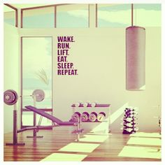 Would LOVE a home gym like this. Just add in treadmill, elliptical, and a rower.