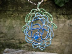 Items similar to Blue Blossom, Fine Silver and Repurposed Plastic Bag Pendant on Etsy Plastic Bags, Repurposed, Crochet Earrings, Delivery, Wire, Pendant, Silver, Etsy, Jewelry