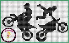 Moto Cross Stitch For Kids, Cross Stitch Charts, Cross Stitch Designs, Cross Stitch Patterns, C2c Crochet Blanket, Filet Crochet, Alpha Patterns, Loom Patterns, Cross Stitching