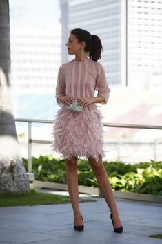 Cheap feather cocktail dress, Buy Quality pink short party dress directly from China cocktail dresses Suppliers: Feather Cocktail Dresses 2017 Custom Made Pink Short Party Dress Three Quarter Sleeves With Bow Back Graduation Dress For Teens Mode Outfits, Fashion Outfits, Womens Fashion, Party Fashion, Moda Chanel, Dress Skirt, Dress Up, Pink Dress, Dress Black