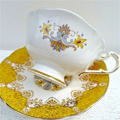 Vintage Paragon Stunning Yellow Tea Cup and by twolittleowls