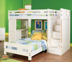 picture of Creekside White Wash 3 Pc Twin/Twin Step Bunk Bedroom from Girls' Bedroom Sets Furniture White Bunk Beds, Loft Bunk Beds, Modern Bunk Beds, Full Bunk Beds, Kids Bunk Beds, Full Bed, Bunk Rooms, Bunk Beds With Drawers, Bunk Bed With Desk