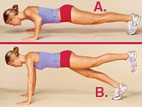 Tone everything in just three weeks - Try this Pilates-inspired Push-Plank from exercise physiologist Michele Olson, PhD. From push-up position, lower body halfway to floor (A). Lift left leg; hold for 1 count. Press elbows straight (but don't lock them), and hold for 1 more count (B). Now repeat exercise using right leg; that's 1 rep. Do 10 reps every other day.