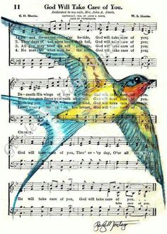 Items similar to F R E E Shipping Barn Swallow Spiritual Song Page or Print + bookmark + tag God Will Take Care Of You Bird on Etsy Hymn Art, Bible Art, Book Page Art, Book Art, Sheet Music Art, Music Paper, Music Sheets, Barn Swallow, Swallow Bird