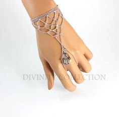 Hamsa Bracelet Silver Hand Chain Women Wrap by divinitycollection