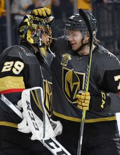 LAS VEGAS, NV - JANUARY 02: Marc-Andre Fleury #29 and William Karlsson #71 of the Vegas Golden Knights celebrate on the ice after defeating the Nashville Predators 3-0 at T-Mobile Arena on January 2, 2018 in Las Vegas, Nevada. (Photo by Ethan Miller/Getty Images)