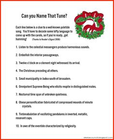 Akela's Council Cub Scout Leader Training: Can you Name That Tune? ~ Guess the Christmas Songs Carols Puzzle for Christmas Parties ~ Cub Scout Pack Meeting Pre-Opener ~ Free Printable Christmas Trivia Games, Xmas Games, Christmas Names, Christmas Program, Holiday Games, Christmas Activities, Christmas Carol, Winter Christmas, Holiday Fun