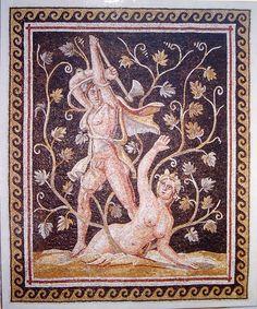 Large Roman Mosaic Depicting Ambrosia & Lycurgus - Edgar L. Owen Galleries Treasury