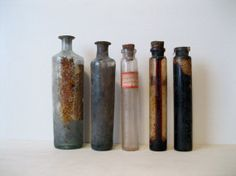 Antique Dirty Apothecary Pharmaceutical Glass Bottles by Suite22, $15.00