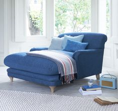 Loaf's super deep Pudding chaise love seat upholstered in blue