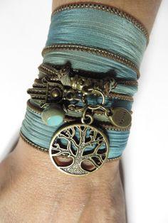 Namaste Tree of Life Silk Wrap Bracelet Yoga Jewlery by HVart, $29.95