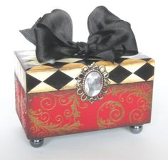 Trinket box Harlequin Keepsake Box by funwallart on Etsy, $29.00