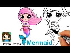 How to Draw a Mermaid - Cartoon Videos Kids For 2019 Kawaii Girl Drawings, Cute Cartoon Drawings, Cute Girl Drawing, Art Drawings For Kids, Disney Drawings, Drawing For Kids, Easy Drawings, Cartoon Illustrations, Drawing Drawing
