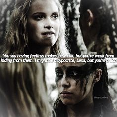 "#The100 2x14 ""Bodyguard of Lies"" - Clarke  and Lexa"