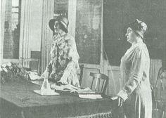 Angiola Moretti (left) and Wanda Gorjux address fascist women, 1930.