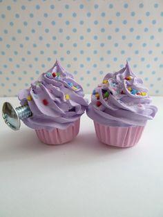 childrens pull knobs fake cupcake Door knobs set of 2 by shimrita, $16.00