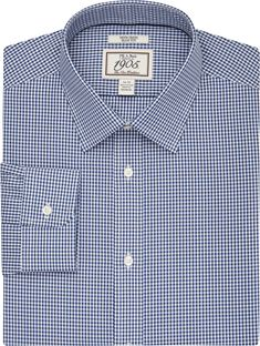 f89abb4d7c02 1905 Collection Slim Fit Spread Collar Check Dress Shirt CLEARANCE