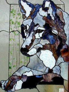 Stained glass wolf portrait ... Cheryl Kumiski Glass Studio