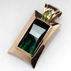 Natural+Green+Tourmaline+&+Peridot+Pendant+14K+Gold