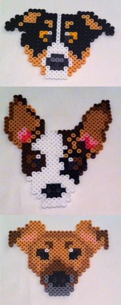 Dogs, rottweiler, perler beads, hama beads, bead sprites by seethecee on deviantart Perler Bead Designs, Perler Bead Templates, Hama Beads Design, Diy Perler Beads, Perler Bead Art, Pearler Beads, Melty Bead Patterns, Pearler Bead Patterns, Perler Patterns