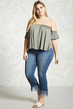 Forever - A knit top featuring an off-the-shoulder top, ruffled short sleeves, and an elasticized neckline. Curvy Women Fashion, Plus Size Fashion, Plus Size Dresses, Plus Size Outfits, Plus Size Womens Clothing, Clothes For Women, Curvy Girl Outfits, Girls, Summer Outfits