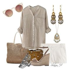 Brilliant Beige by shannonholcombe70 on Polyvore featuring polyvore fashion style J.Crew Zara Banana Republic Sif Jakobs Jewellery maurices