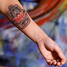 hamsa hand lotus tattoo design