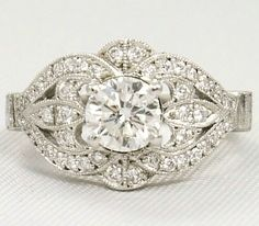 Engagement Ring Vintage Diamond Engagement Ring . Tcw In K White