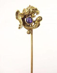 Antique 19c Victorian Griffin Gryphon mythological 14k Gold Sapphire Stickpin | eBay