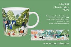 Mug #82 – Moominvalley  Produced: 2017 Illustrated by Tove Jansson and manufactured in Thailand by Arabia. The original artwork can be found on the book cover of the French edition of Finn Family Moomintroll by Tove Jansson.  All the Moominvalley Moomin mugs have a special Moomin Museum stamp on the base.