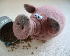 Needle Felted Toy Pig Felt Toys by TashaToys on Etsy