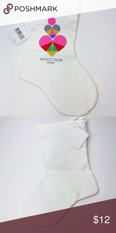"""Nordstrom Beauty White Christmas Stocking NEW Brand new with tags. 8"""" from heel to toe. 8.5"""" from top to heel. Has ribbon to hang. Nordstrom Accessories"""