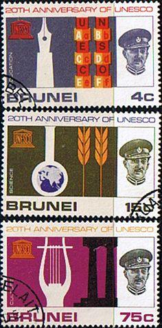 UNESCO 1966 Brunei Set Fine Used SG 144 6 Scott 128 30 Other Brunei Stamps HERE