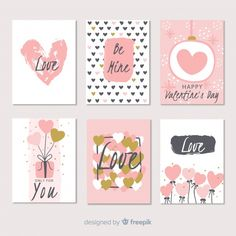 Hand drawn valentine's day card collection Free Vector