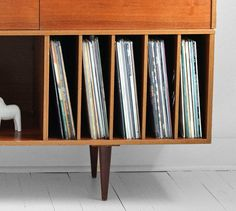 Vintage Swedish Teak Record Cabinet Mid Century Credenza by Moved