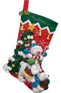 Bucilla #Felt #Applique #Embroidery #SNOWMAN & #POLARBEAR #Stocking ♥ #ebay…