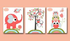 Elephant Nursery Owl Nursery Tree Baby Girl Nursery art print Children Wall Art Baby Room Decor set of 3 8x10 rose owls elephant tree green on Etsy, $47.46 CAD
