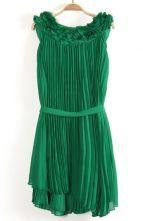 #SheInside   Green Sleeveless Drawstring Pleated Chiffon Dress