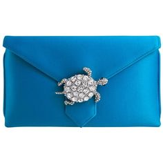 Wilbur & Gussie Charlie Clutch Turquoise Turtle ($220) ❤ liked on Polyvore featuring bags, handbags, clutches, blue clutches, blue handbags, turquoise handbags, turtle handbag and envelope clutch