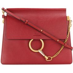 Chloé Faye Leather Shoulder Bag ($1,925) ❤ liked on Polyvore featuring bags, handbags, shoulder bags, red, hand bags, man bag, leather hand bags, leather purses and red leather handbags