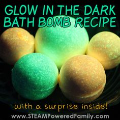 DIY Glow in the Dark Bath Bombs for Kids with a SURPRISE! A Glow in the Dark Bath Bomb recipe that's a great project for kids. Wait until you see what's inside! This educational activity is a fun science lesson. Shower Jellies Diy, Diy Beard Oil, Bath Balms, Arctic Fox Hair Color, Bath Bomb Recipes, Science Lessons, The Darkest, The Balm, Glow Crafts