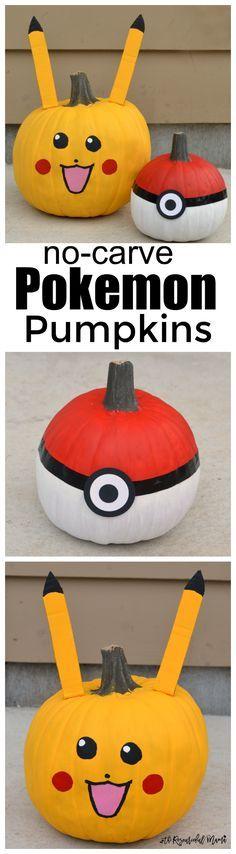 No-carve Poke Ball and Pikachu Pokemon Pumpkins for Halloween. favorite characters   painted pumpkins