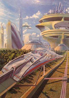 Psuedo-monorail transport system, retro-futuristic, future city, futuristic city, futuristic vehicle, science fiction, monorail, futuristic architecture, sci-fi, futuristic buildings