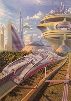 Psuedo-monorail transport system, retro-futuristic, future city, futuristic city, futuristic vehicle, science fiction, monorail, futuristic architecture, sci-fi, futuristic buildings
