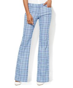 New York & Company Grand Sapphire Plaid Signature Bootcut Pants | zulily