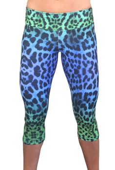 Colorful, leopard inspired print workout tights made in the USA by Moxie Fitness Apparel