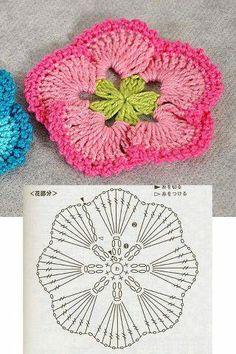 Crochet Diy, Diy Crochet Flowers, Crochet Gratis, Crochet Flower Tutorial, Crochet Motifs, Knitted Flowers, Crochet Flower Patterns, Crochet Diagram, Crochet Chart