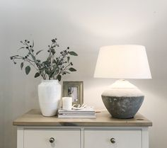 Console Styling Brooke Stone Lamp styled with our Christmas candle and eucalyptus My Living Room, Home And Living, Living Room Decor, Decoration Bedroom, Hallway Decorating, Stone Lamp, Hudson Homes, Console Styling, Spring Home Decor